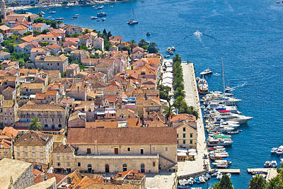 Photograph - Hvar Island Yachting Harbor Aerial View by Brch Photography
