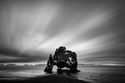 Beach Royalty-Free and Rights-Managed Images - Hvitserkur by Dave Bowman