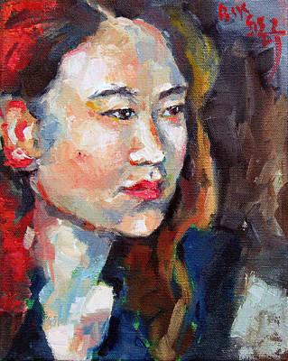 Painting - Hwajin In Blue Dress by Becky Kim