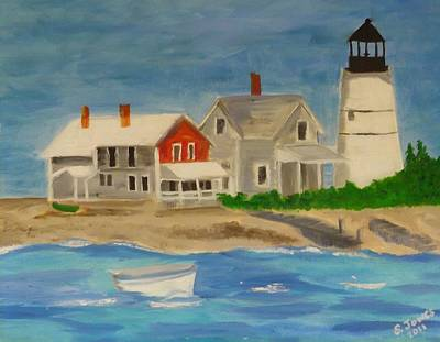 New England Lighthouse Painting - Hyannis Lighthouse by Sally Jones