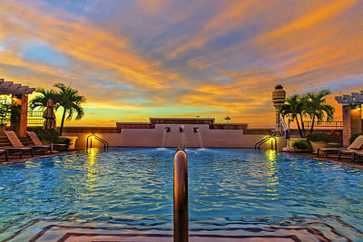 Hyatt Morning Pool Art Print