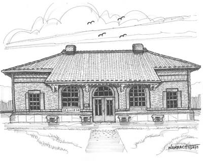 Hyde Park Drawing - Hyde Park Historic Train Station by Richard Wambach
