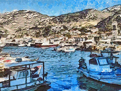 Hydra Island Painting - Hydra Port by Laurence Canter