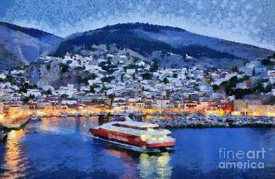 Painting - Hydra Town During Dusk Time by George Atsametakis