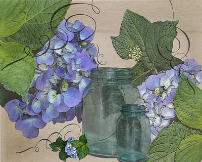 Photograph - Hydrangea And Vintage Jars by TnBackroadsPhotos