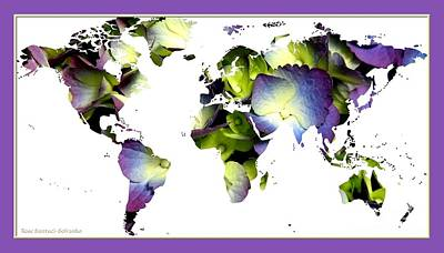 Map Of The World Photograph - Hydrangea World Map by Rose Santuci-Sofranko