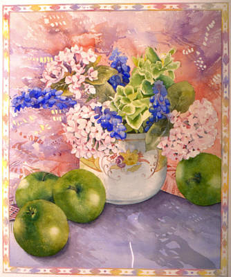 Vase Table Photograph - Hydrangeas And Hyacinths by Julia Rowntree