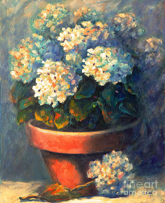 Painting - Hydrangeas In Clay Pot by Carolyn Jarvis