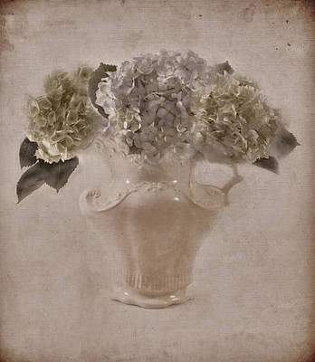 Art Print featuring the photograph Hydrangeas In Cream Pitcher by Sandra Foster