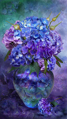 Romanceworks Mixed Media - Hydrangeas In Hydrangea Vase by Carol Cavalaris