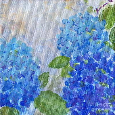 Green Painting - Hydrangeas On A Cloudy Day by Arlissa Vaughn