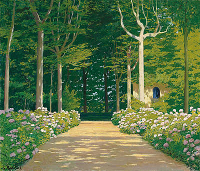Pathways Painting - Hydrangeas On A Garden Path by Santiago Rusinol i Prats