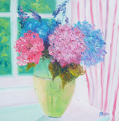 Hydrangeas On A Windowsill Art Print by Jan Matson
