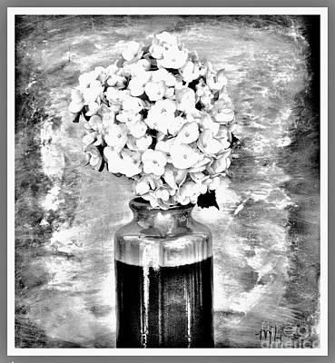 Wrap Digital Art - Hydrangia Black White by Marsha Heiken