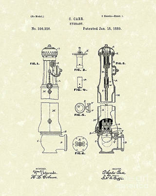 Drawing - Hydrant 1889 Patent Art by Prior Art Design