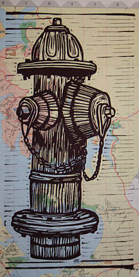 Austin Drawing - Hydrant On Map by William Cauthern