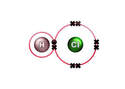 Atom Photograph - Hydrogen Chloride Molecule Bond Formation by Animate4.com/science Photo Libary