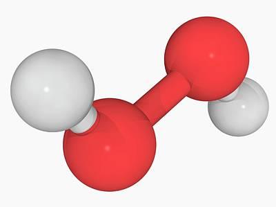 Hydrogen Peroxide Molecule Art Print by Laguna Design/science Photo Library