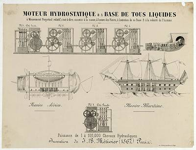 1867 Photograph - Hydrostatic Motor Design by Library Of Congress