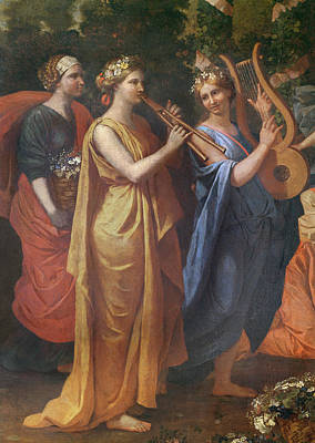 Hymenaios Disguised As A Woman During An Offering To Priapus, Detail Of The Musicians, C.1634-38 Art Print by Nicolas Poussin