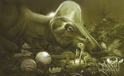 Egg Tempera Digital Art - Hypacrosaurus Protecting Its Nest by Jan Sovak