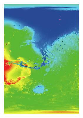 Astrogeology Photograph - Hypothetical Water Map Of Mars by Detlev Van Ravenswaay