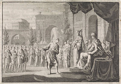 Ptolemy Drawing - Hyrkanus Before The Throne Of Ptolemy Philadelphus by Jan Luyken And Pieter Mortier