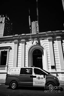 Police Van Photograph - hyundai van and primera conisaria carabineros de chile national police Santiago Chile by Joe Fox