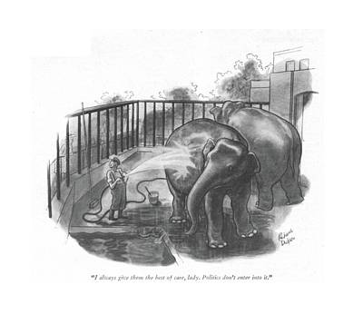Zoo Drawing - I Always Give Them The Best Of Care by Richard Decker