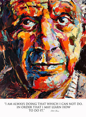 Derek Russell Wall Art - Painting - I Am Always Doing That Which I Can Not Do In Order That I May Learn How To Do It Pablo Picasso by Derek Russell