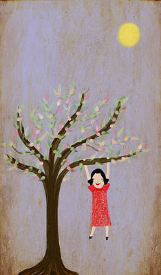 Child Swinging Digital Art - I Am Glad That There Are Trees by Katy McFall