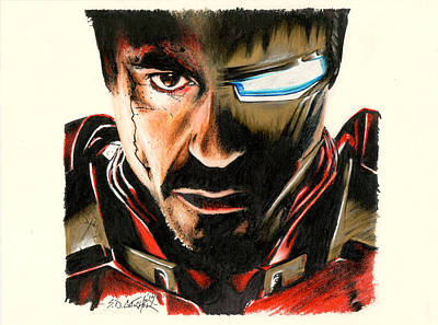 Robert Downey Jr Drawing Drawing - I Am Ironman by Scot Gotcher