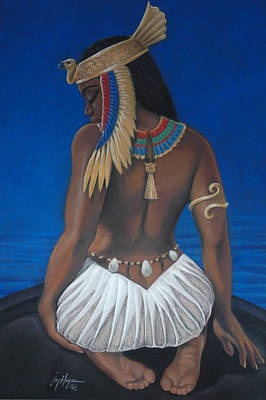 Egyptian Goddess Isis Pastel - Goddess In Mourning by Joyce Hayes