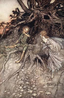 Drawing - I Am That Merry Wanderer Of The Night by Arthur Rackham