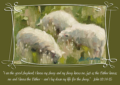 Painting - I Am The Good Shepherd by Erin Rickelton