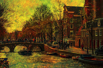 Photograph - I Amsterdam. Vintage Amsterdam In Golden Light by Jenny Rainbow