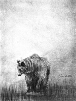 Grizzly Bears Drawing - I Can by J Ferwerda
