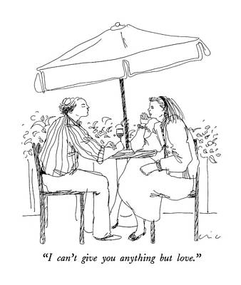 Table Wine Drawing - I Can't Give You Anything But Love by Richard Cline