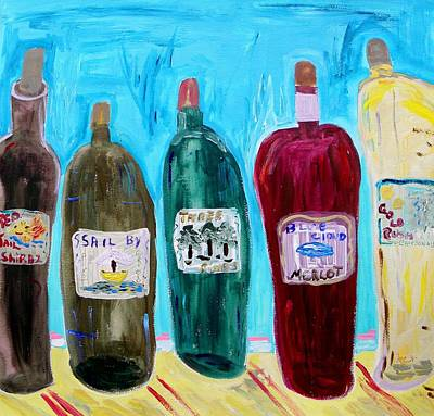Mary Carol Art Drawing - I Choose Wine By The Label by Mary Carol Williams