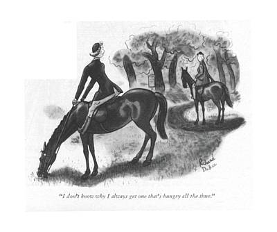 Grazing Horse Drawing - I Don't Know Why I Always Get One That's Hungry by Richard Decker