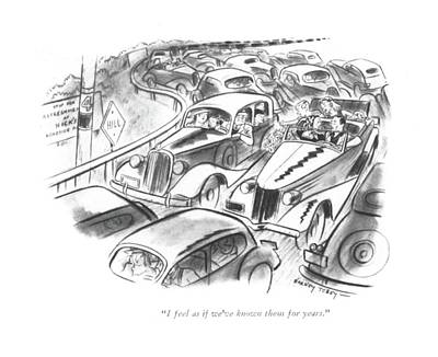 Family Car Drawing - I Feel As If We've Known Them For Years by Barney Tobey