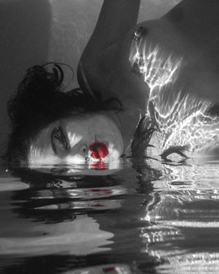 Nude Underwater Photograph - I Float On Red by Scott Campbell