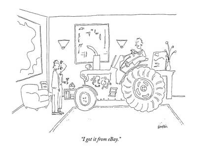 Tractor Drawing - I Got It From Ebay by Ken Krimstein