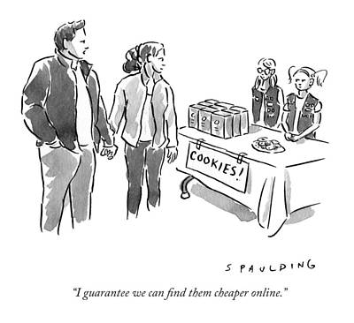 Shopping Drawing - I Guarantee We Can Find Them Cheaper Online by Trevor Spaulding