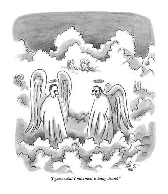 Angel Drawing - I Guess What I Miss Most Is Being Drunk by Frank Cotham