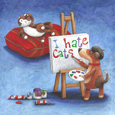 I Hate Cats Art Print by Peter Adderley