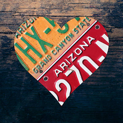 Love Mixed Media - I Heart Arizona State Love Recycled Vintage License Plate Art by Design Turnpike