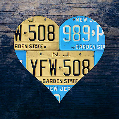 Love Mixed Media - I Heart New Jersey State Love Recycled Vintage License Plate Art by Design Turnpike