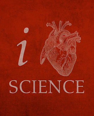 Humor Mixed Media - I Heart Science Humor Poster by Design Turnpike