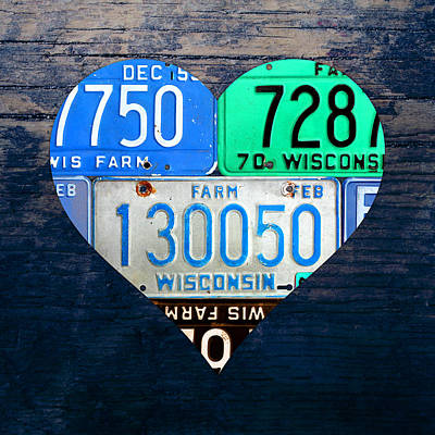 Love Mixed Media - I Heart Wisconsin State Love Recycled Vintage License Plate Art by Design Turnpike